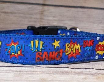 Super Hero Dog Collar / Superhero Dog Collar / Comic Words Dog Collar / Boy Dog Collar / Blue Dog Collar / Zap Bang Bam / Dog Lover Gift