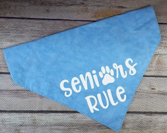 Seniors Rule Dog Bandana / Senior Dog Scarf / Old Dog Bandana / Over the Collar / Dog Lover Gift / Blue Dog Bandana / Chambray Neckerchief