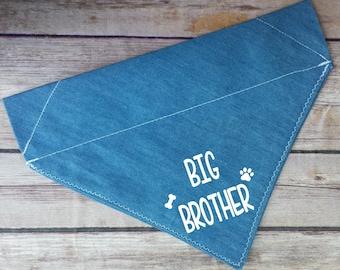 Big Brother Denim Dog Bandana / Big Sister Dog Scarf / Denim Cat Bandana