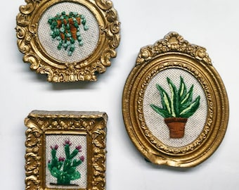 Embroidered plant cactus string of pearls snake plant mother in-law tongue vintage art nouveau style frame art decor green thumb gift love