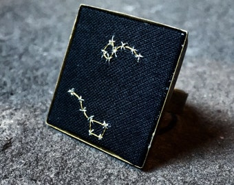 Big Dipper Little Dipper Ursa Major Ursa Minor ring constellation adjustable embroidered celestial constellation jewelry witchy astronomy