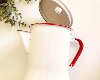 Vintage large enamel kettles white and red detail rustic chic decor kitchen supplies