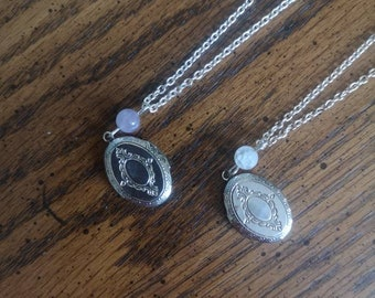 Silver Plated Locket Necklace with amethyst or moonstone gem bead customizable locket, hidden message necklace  rustic vintage inspired love