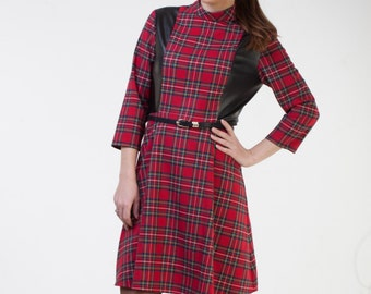 CLEARANCE - one size sale - Midi red plaid dress with sleeves Red tartan dress Combined dress Plaid party dress Office dress Autumn dress