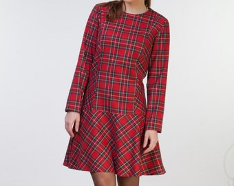CLEARANCE - one size sale - Red Christmas plaid dress womens Tartan dress midi with sleeves fits for US size 4-6
