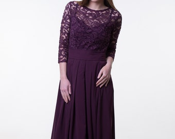 6cb0c5bdfa8 Dark purple bridesmaid dress. Long lace and chiffon dress with sleeves.  Modest prom dress. Special occasion outfit
