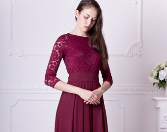 f601b46d266 Burgundy bridesmaid dress long. Floral lace formal gown with sleeves. Modest  evening dress plus size. 3 4 sleeves mother of the bride dress