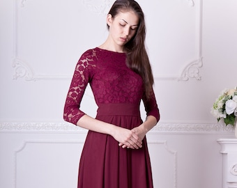 7330b5aba9e Burgundy bridesmaid dress long. Floral lace formal gown with sleeves.  Modest evening dress plus size. 3 4 sleeves mother of the bride dress