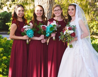 Long burgundy bridesmaid dress with cap sleeves. Modest lace dress floor length - 15+ colors (use links in description to see color)