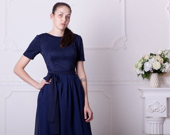 Navy blue bridesmaid dress with short sleeves. Knee lenght navy cocktail  dress. Modest blue lace dress junior bridesmaid 412f07adb5