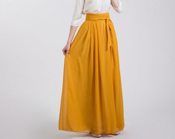 77c3e65af Long mustard chiffon skirt for engagement photo shoot. Crepe chiffon  mustard yellow skirt women floor length with sash and high waist