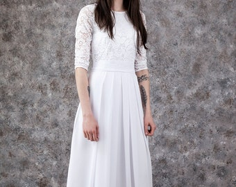 51838380da Inexpensive wedding dress. White lace wedding dress floor length. Modest wedding  gown with sleeves under 100