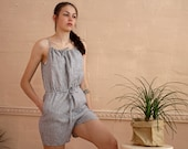Striped linen romper women. Short linen overalls for beach. Bohemian summer linen outfits. Spaghetti straps short jumpsuit - 20 colors