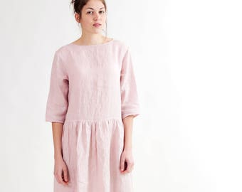 Loose blush pink linen dress with pockets Loose linen dress women Loose dress with pockets Oversize linen dress with pockets Dropwaist dress