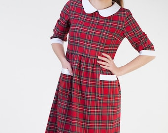 Christmas red plaid dress women Cute womens dress Red tartan dress women Plaid holiday dress women Christmas dress women