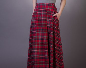 eb06c341a3 Tartan long skirt with pockets Maxi tartan skirt Long plaid skirt Maxi red  plaid skirt with pockets Red tartan skirt Long red skirt