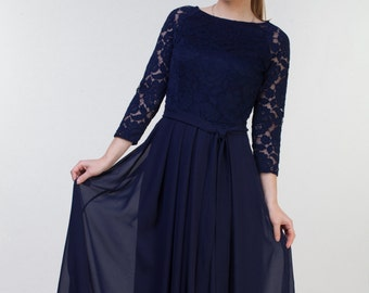 NEW LACE #2 PHOTO Long navy blue bridesmaid dress with sleeves. Modest lace prom dress. Mother of the bride dress. Formal gown