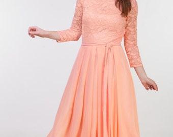 Long peach lace dress for bridesmaids Peach bridesmaid dress Long bridesmaid dress Long prom dress Peach dress women