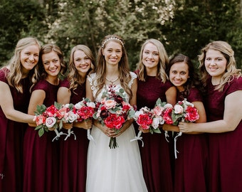 15e3f6b8f3d Short burgundy lace dress. Short bridesmaid dress knee length extended  shoulders. Modest cocktail dress with sash