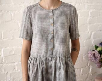 1d9c3933de8 Striped linen dress women. Short sleeve summer dress. Vintage style linen  clothing women. Tea length linen dress with pockets - 20+ colors