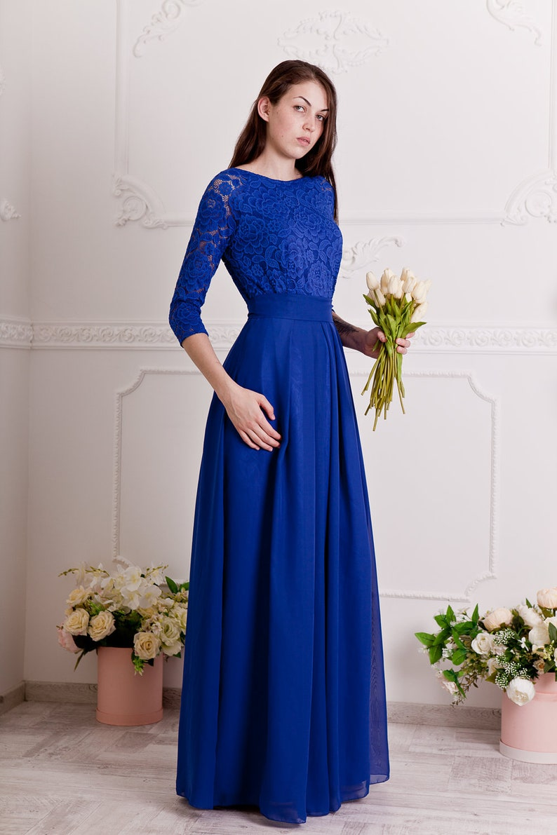 Cobalt blue bridesmaid dress long. Floral lace formal gown with sleeves.  Modest evening dress plus size.Blue mother of the groom dress