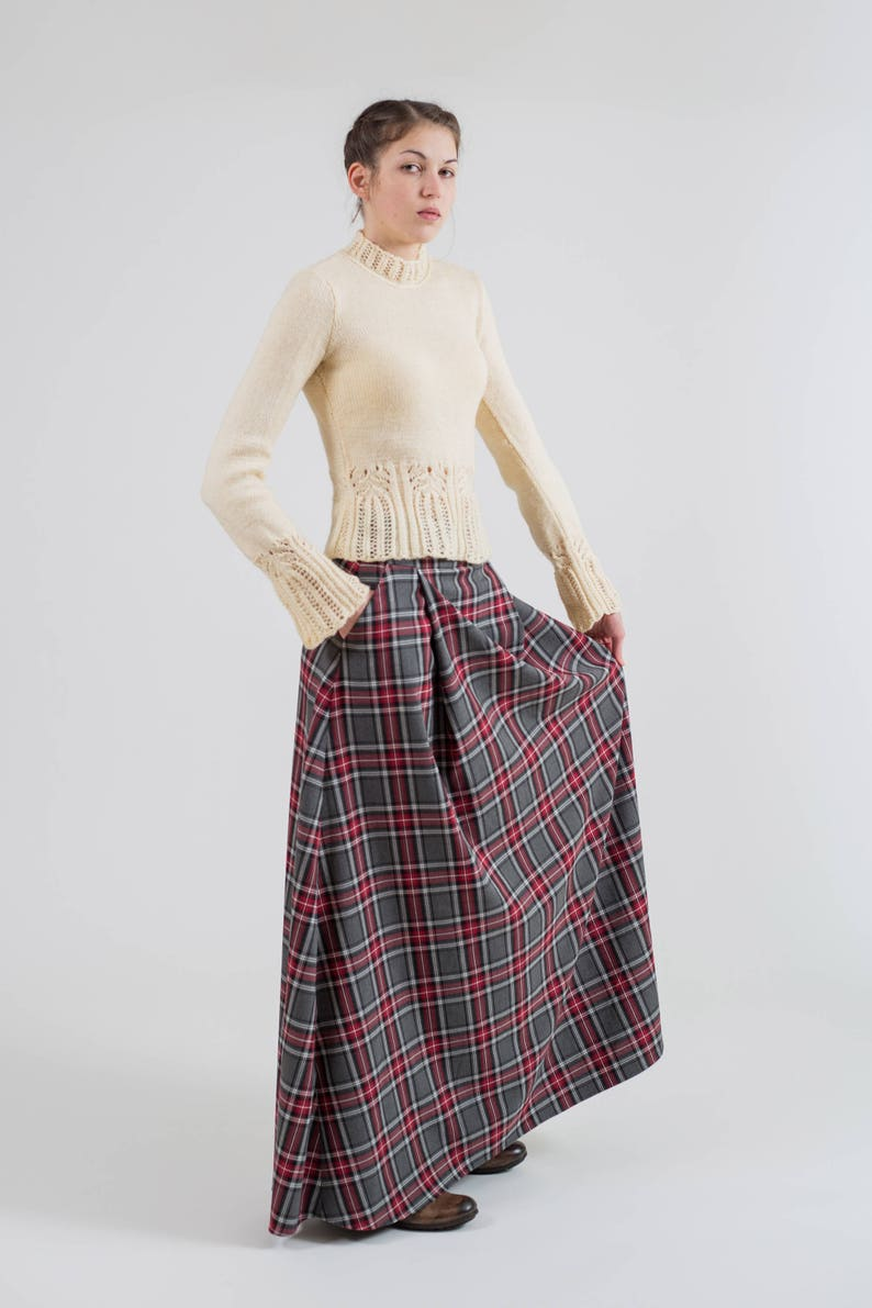 cbac34591 Long gray plaid skirt with pockets Maxi tartan skirt Long | Etsy