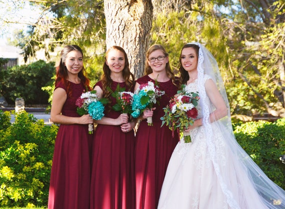 Long Burgundy Bridesmaid Dress With Cap Sleeves Modest Lace Etsy