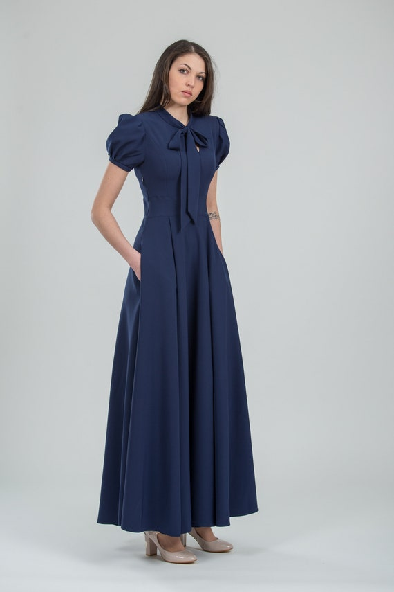 Schicke Marine formale Kleid lang blau Brautjungfer Kleid Abend Outfits für den besonderen Anlass Kleidung der Frauen – in 12 Farben erhältlich