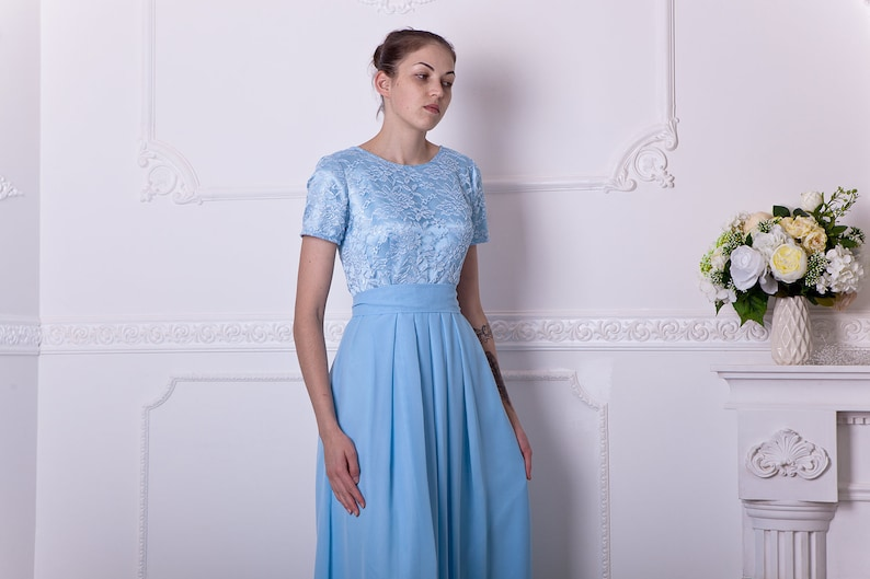 7a5ce304fdc Long light blue bridesmaid dress with short sleeves. Modest