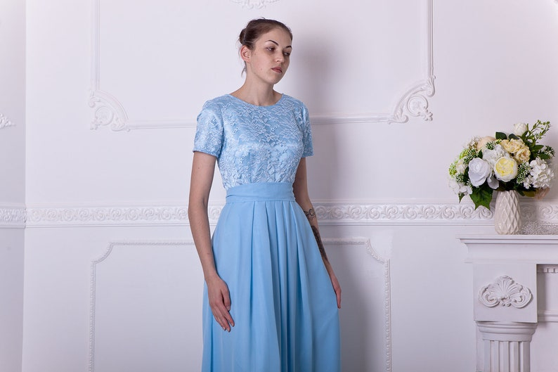 43cd0bb56939 Long light blue bridesmaid dress with short sleeves. Modest | Etsy