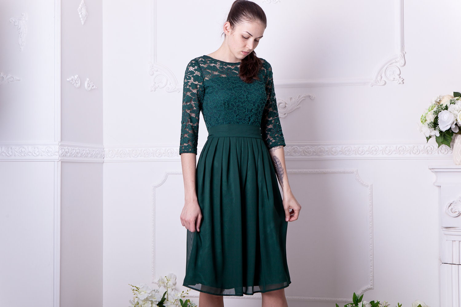 3f4ad2e5ef5 Short dark green bridesmaid dress with sleeves. Knee length