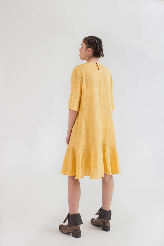 Yellow Linen Dress Mermaid Style Flared Natural Flax Dress Etsy