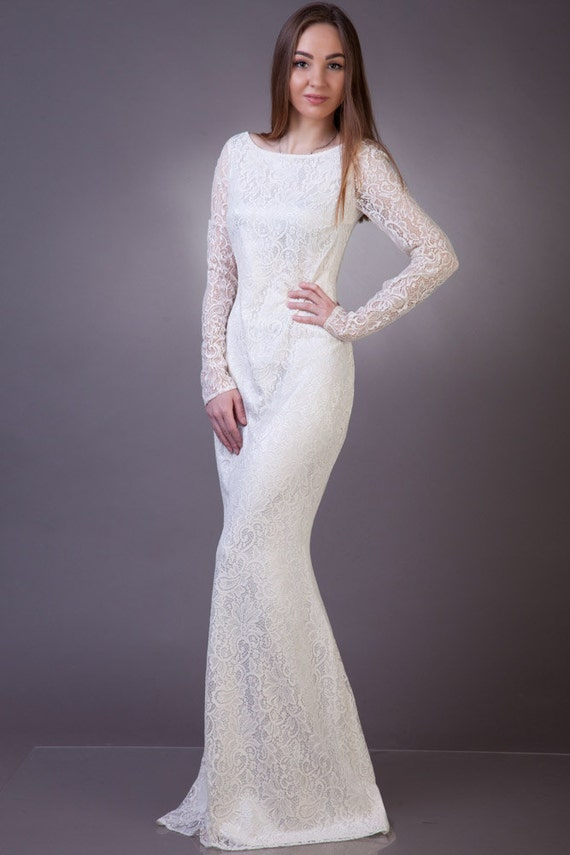 Off White Wedding Dress Long Lace Silhouette Dress With Etsy
