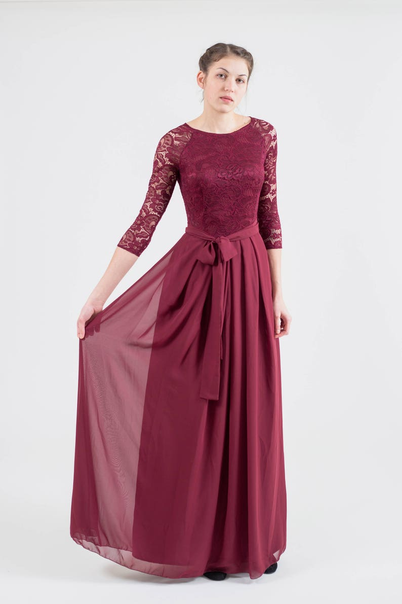 Long burgundy bridesmaid dress with sleeves. Modest lace | Etsy