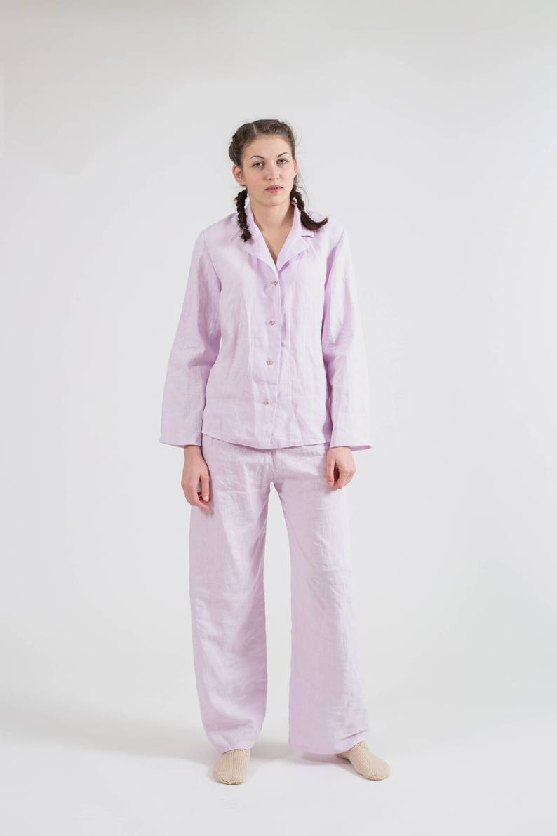 Natural flax nightgown Organic pajama set for women Pure linen pyjamas for home wear 20+ colors Womens linen pants and shirt for sleep