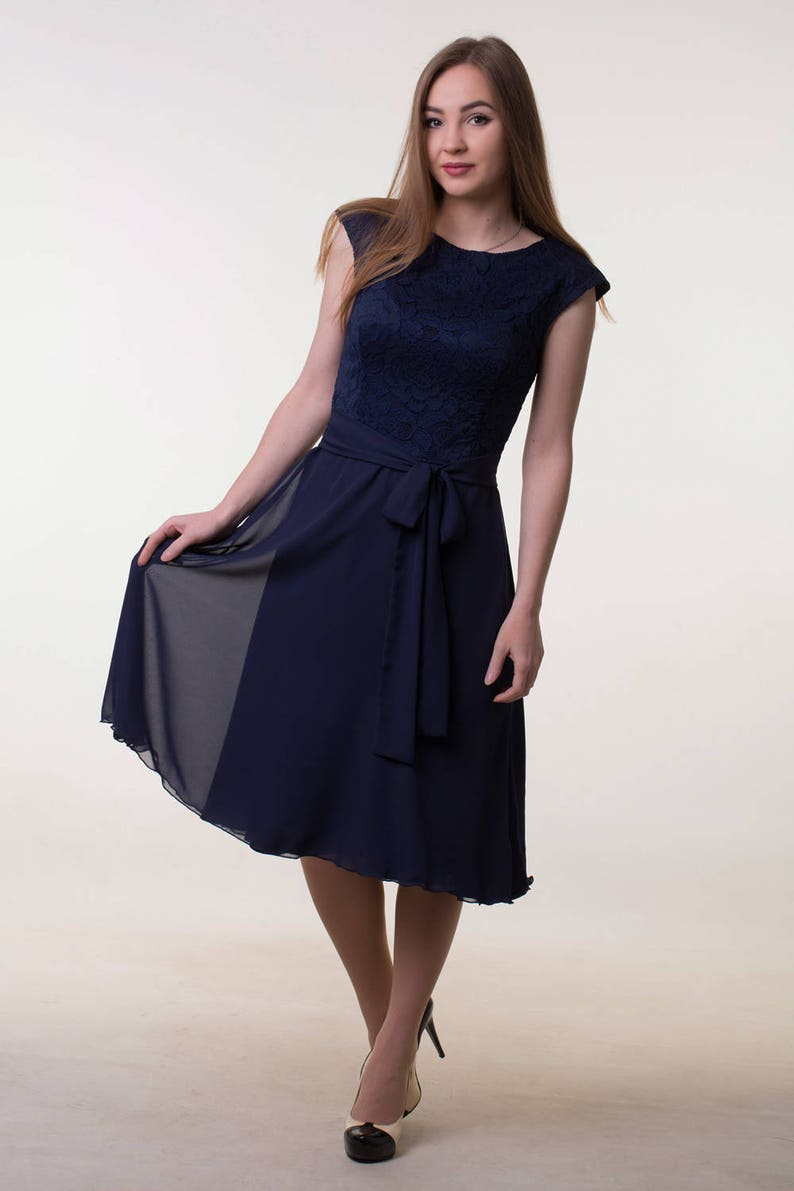 ad7fa01618b4 Navy blue bridesmaid dress Short navy lace dress Navy blue