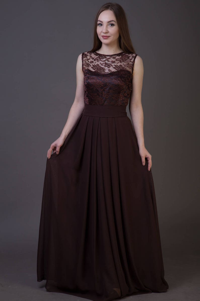 29b0bab5f42 Brown bridesmaid dress. Long chocolate dress sleeveless. Party