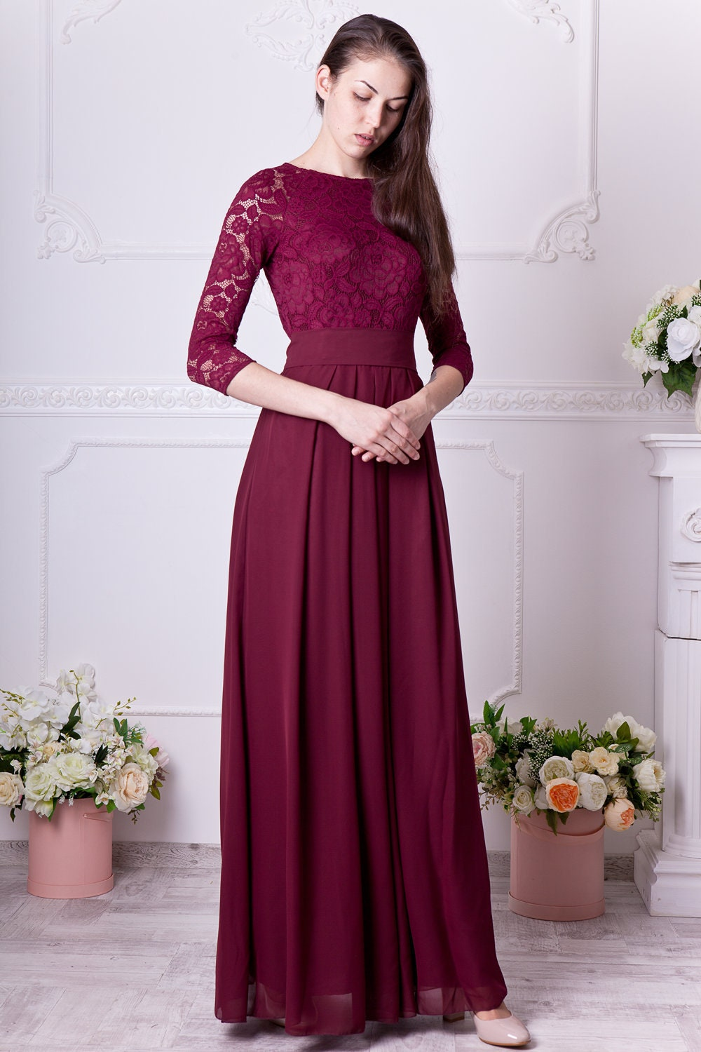 Burgundy bridesmaid dress long. Floral lace formal gown with | Etsy