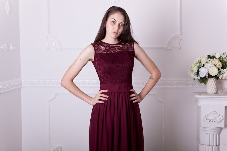 2aa00bc3caa1 Inexpensive bridesmaid dress burgundy. Long lace and chiffon | Etsy