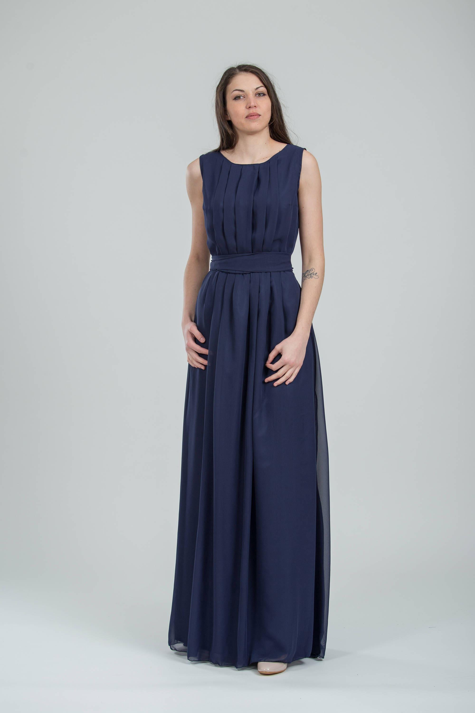Chiffon Marine Brautjungfer Kleid lang blau griechischen Stil