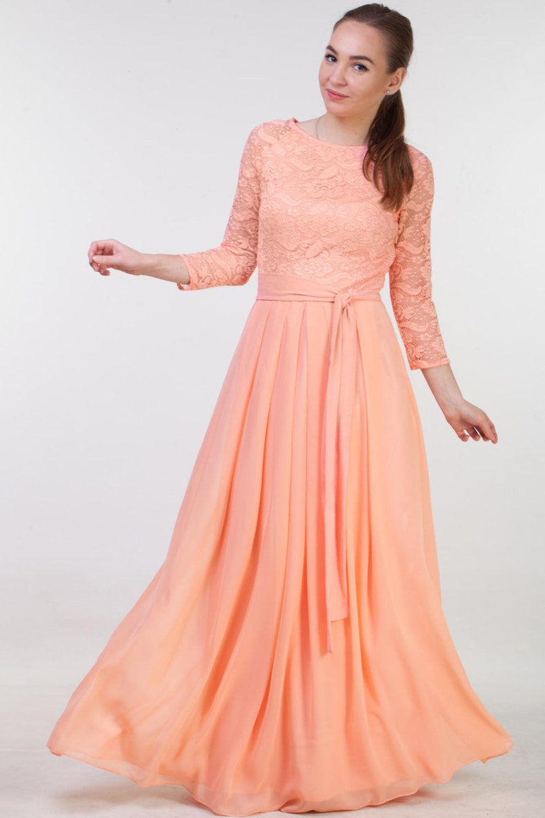 Lace peach bridesmaid dress long with sleeves. Modest prom | Etsy