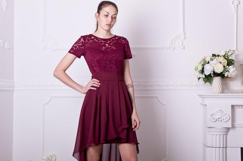a8b20b9050 High low bridesmaid dress burgundy. Asymmetric lace formal