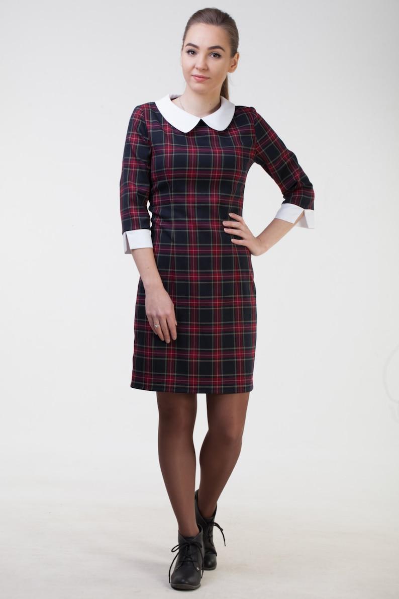 05f332311659 Cute black plaid dress Midi black dress white collar Black