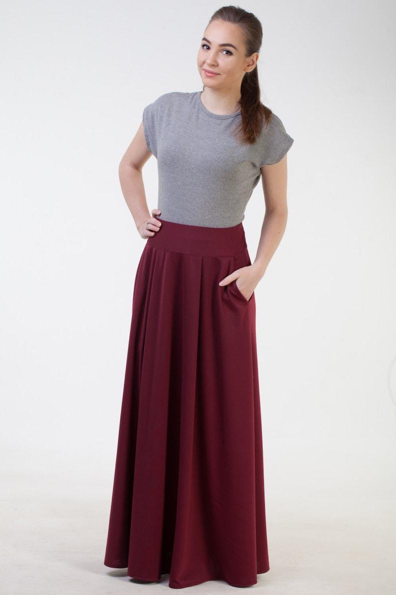 f65883de3 Burgundy long skirt with pockets Maxi burgundy skirt Office image 0 ...