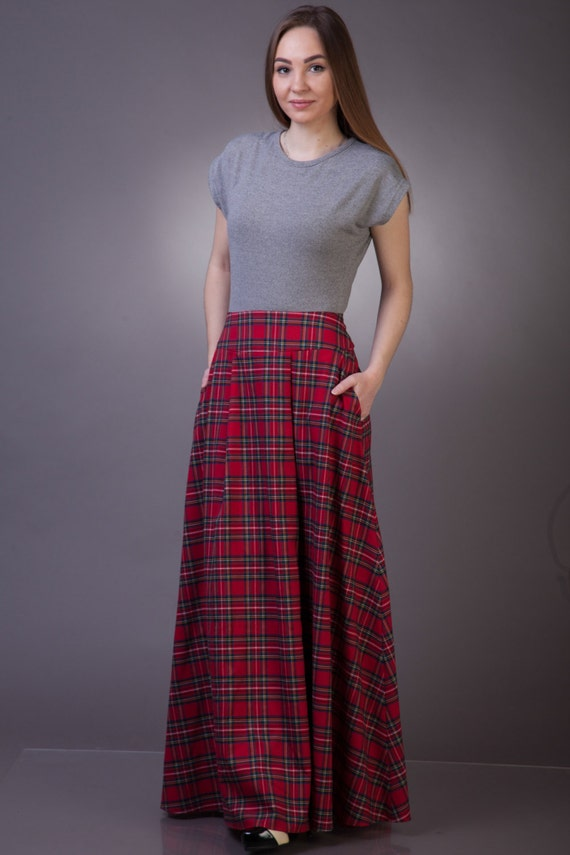 Tartan Long Skirt With Pockets Maxi Tartan Skirt Long Plaid Etsy