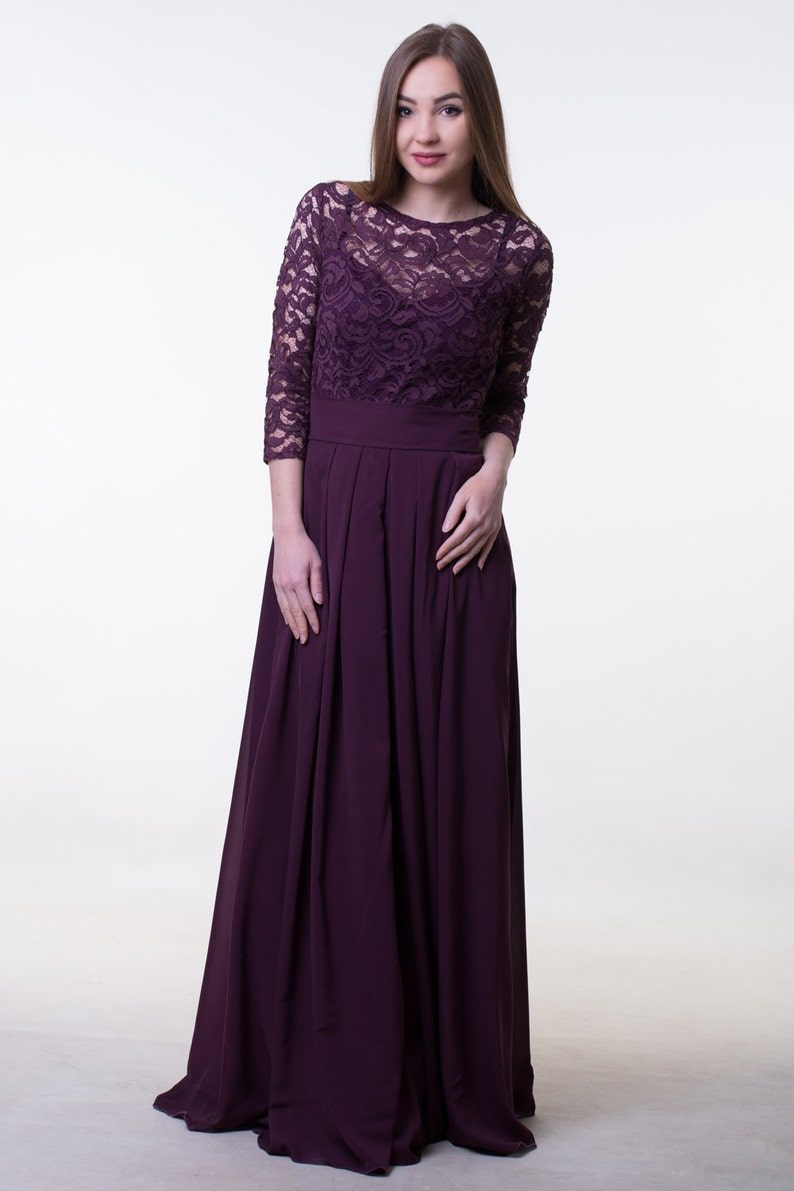 54293265414 Dark purple bridesmaid dress. Long lace and chiffon dress with