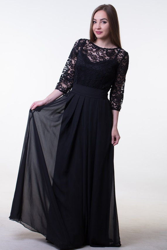 Bridesmaid Dress Black Long Lace Dress With Sleeves Modest Etsy