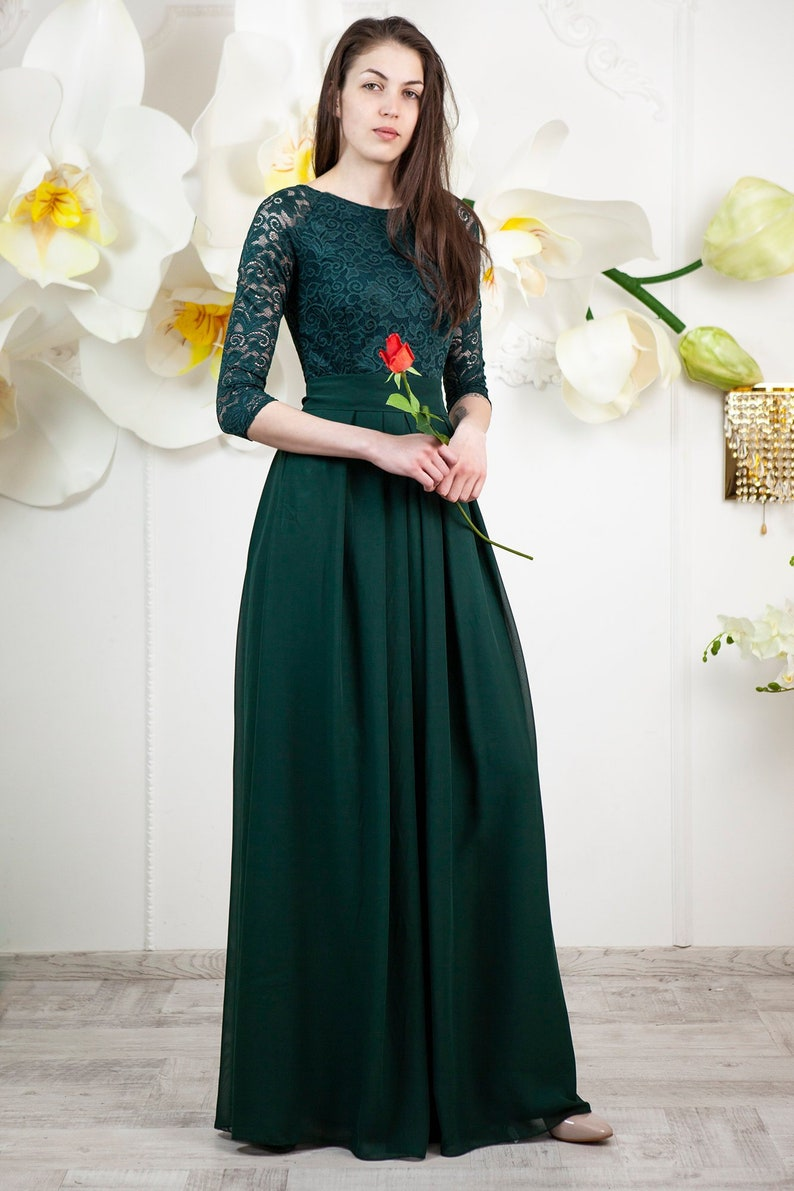 610d38f7f3f4d Green bridesmaid dress. Long lace dress with 3/4 sleeves. | Etsy
