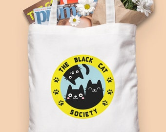 Black Cat tote bag - White canvas tote bag - Cat bag - Handprinted organic cotton bag - Cat lover gifts - Cat lady