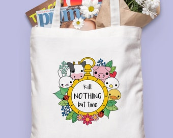Vegan Tote Bag - Kill Nothing but Time canvas bag - Vegetarian - Vegan gift - Eco-friendly - Cruelty free - Vegan accessories